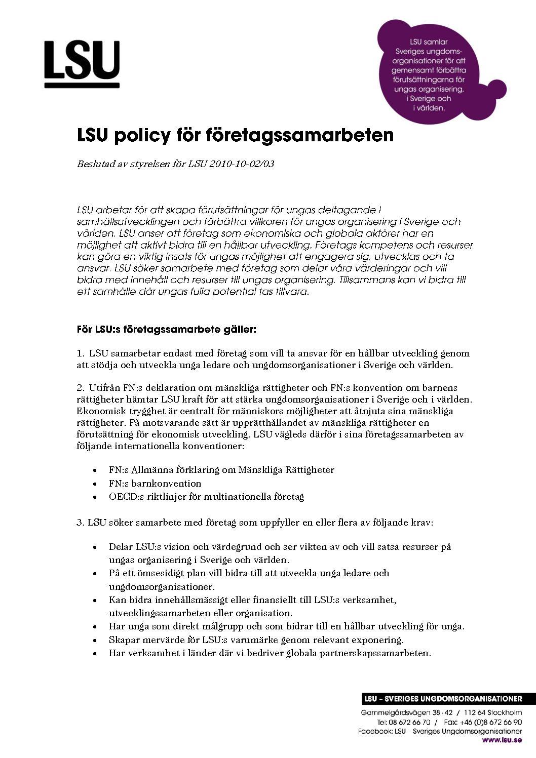 Policy för företagsamarbeten