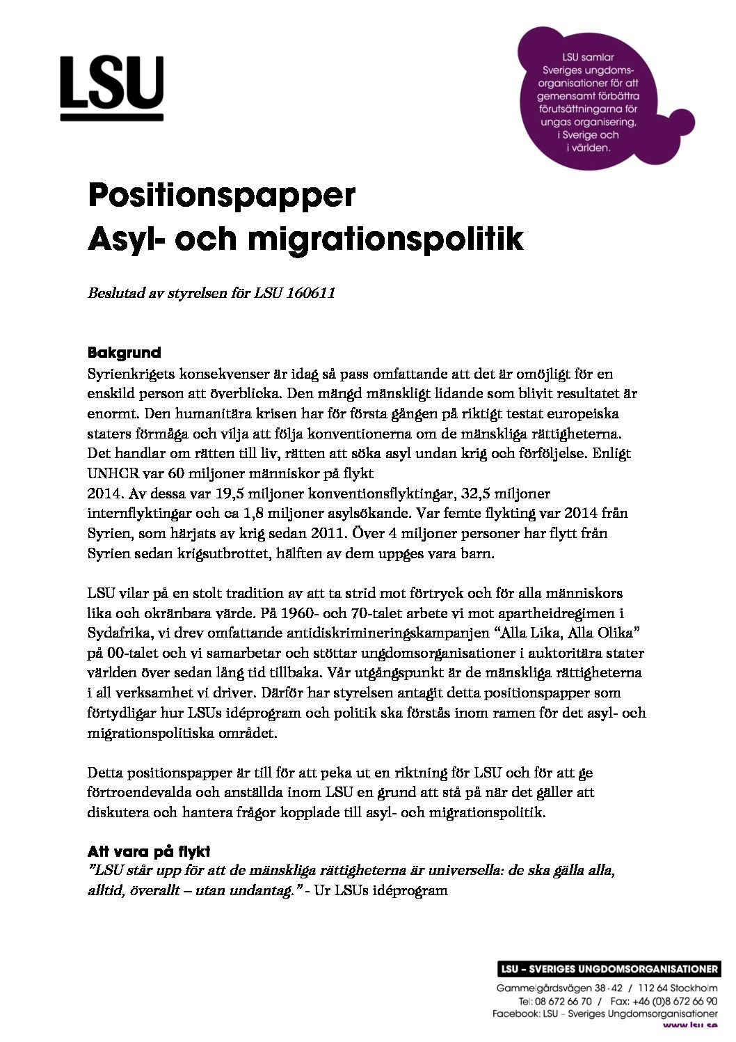 Positionspapper asyl- och migrationspolitik