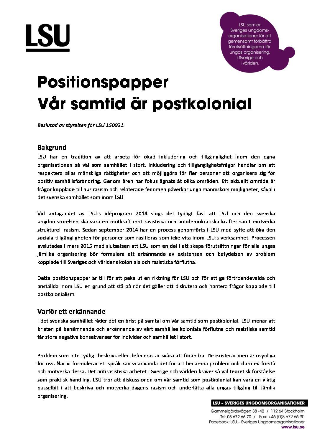Positionspapper, vår-samtid-är-postkolonial