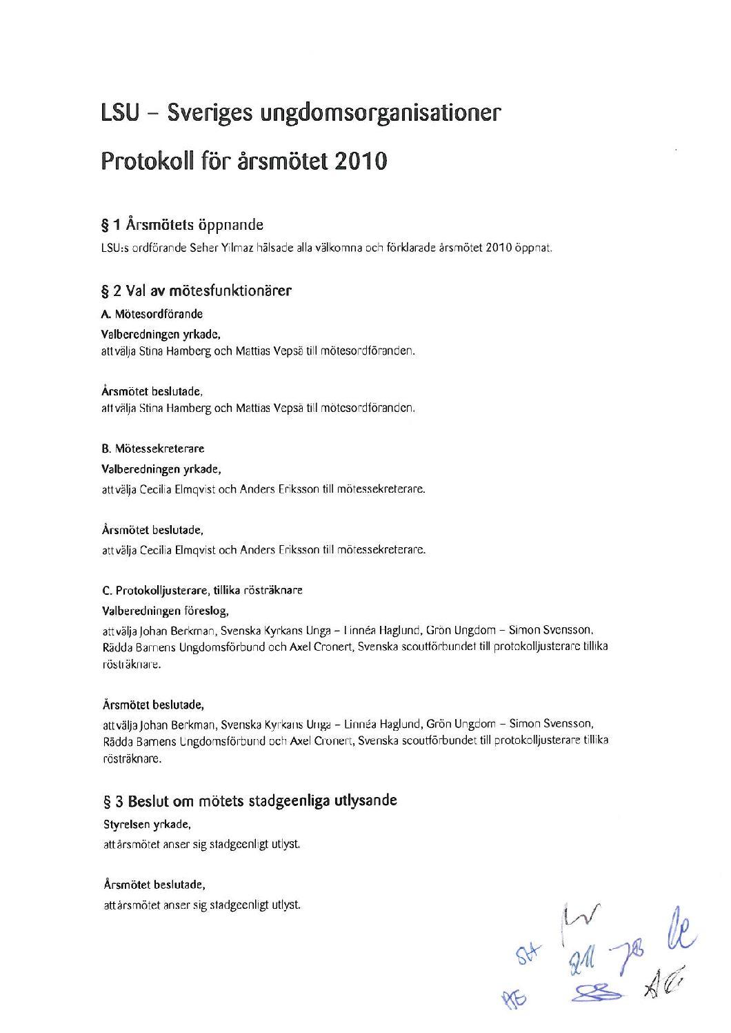 Protokoll för årsmötet 2010 undertecknat