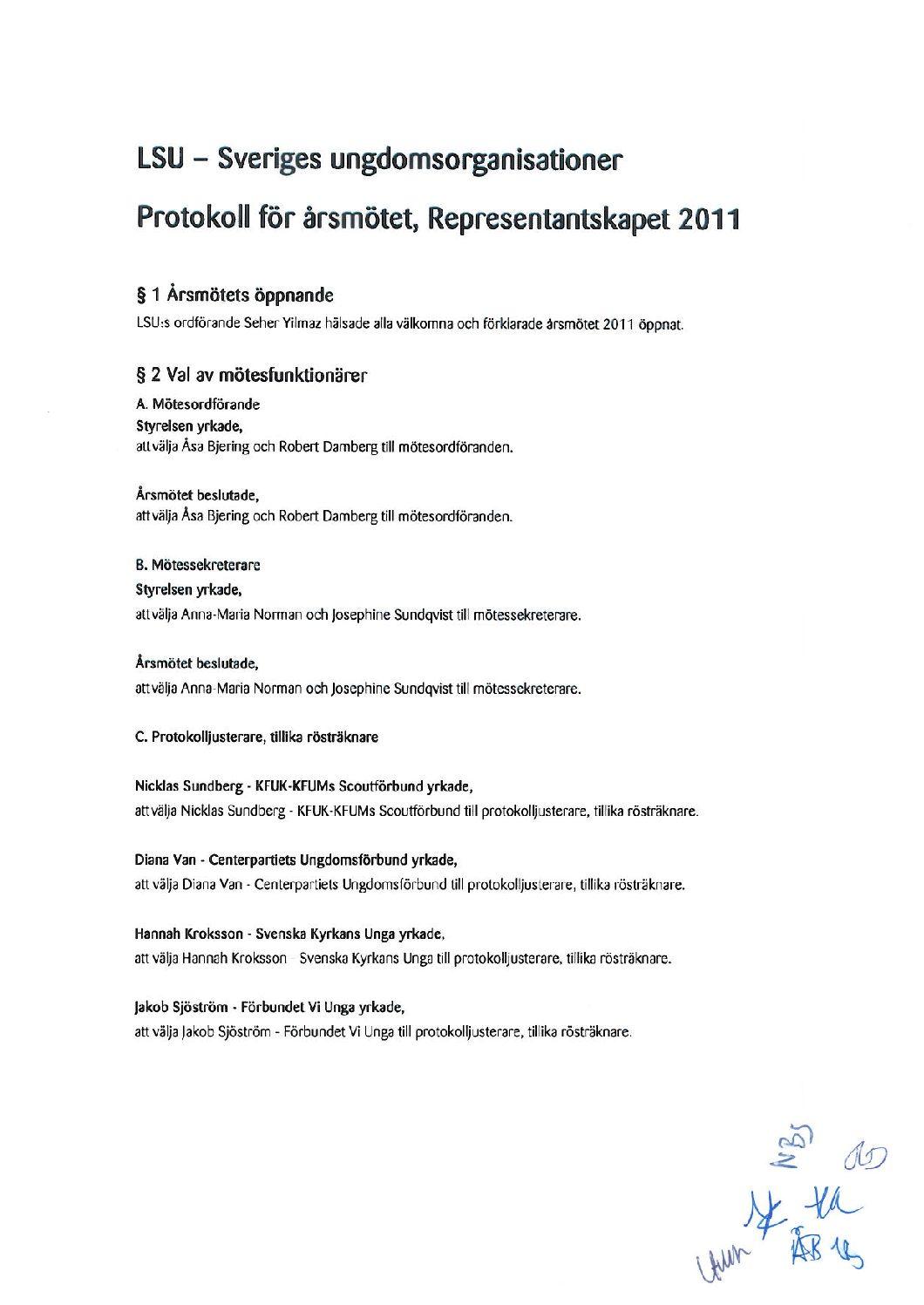 Protokoll för årsmötet 2011, justerat