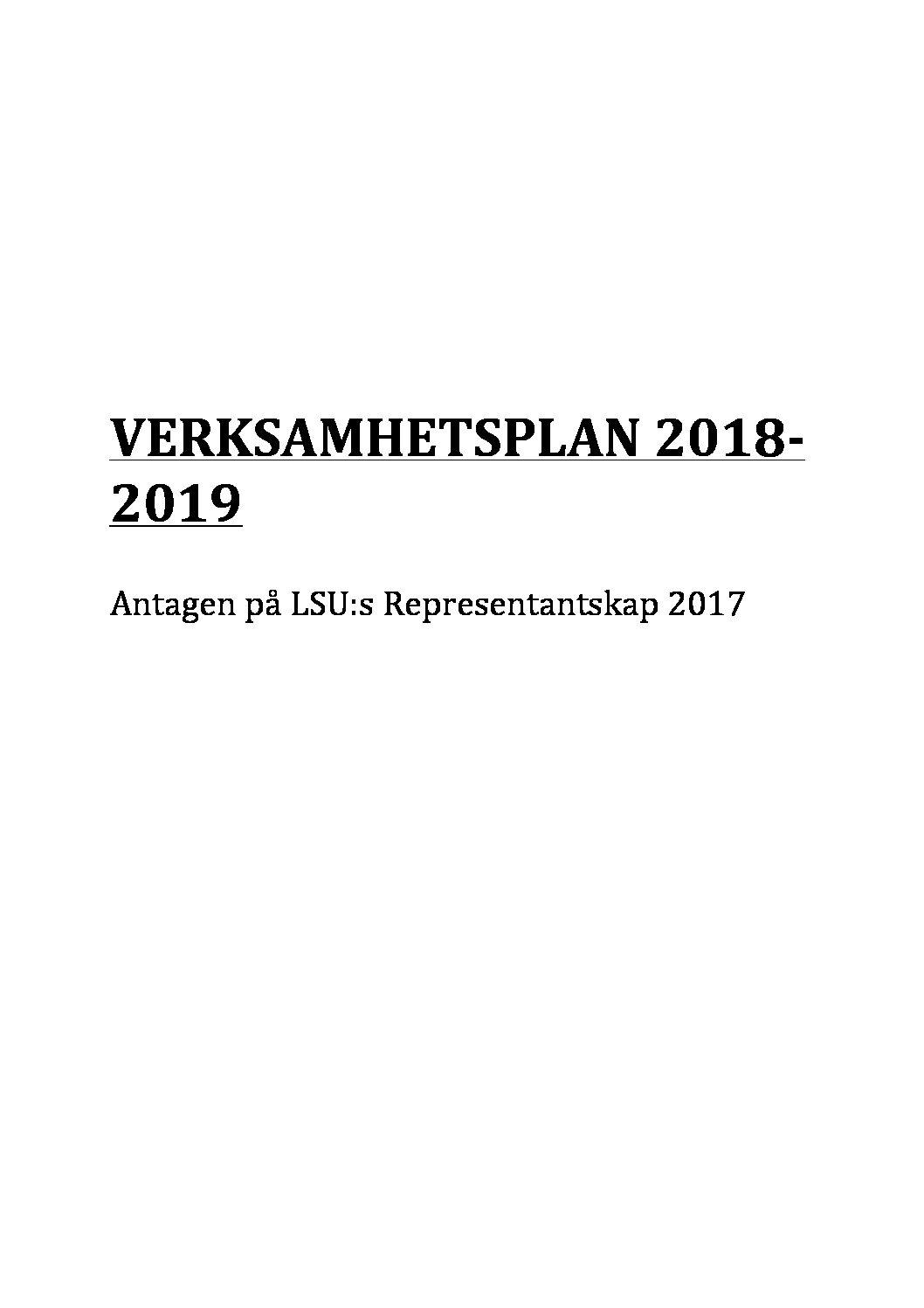 Verksamhetsplan 2018-2019