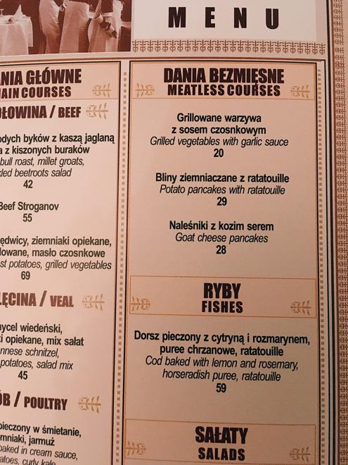 """En meny där det står """"meatless courses""""."""