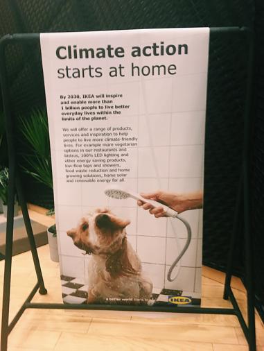 """En IKEA-plansch hänger på en svart stång, framför en svart vägg. På den står det """"Climate action starts at home"""" och det är en bild på en hund som duschar."""
