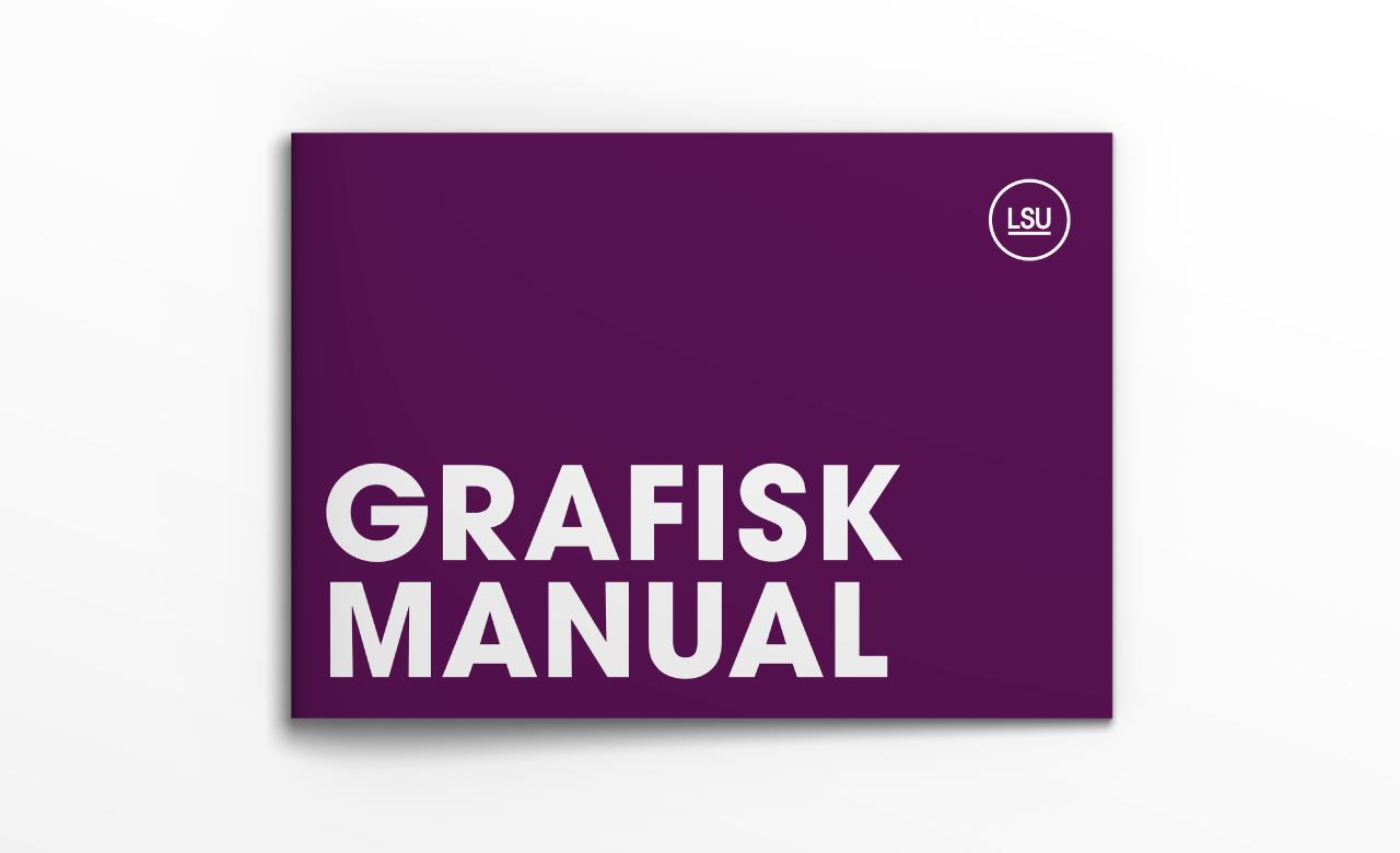 """Vit bakgrund med en bok på. Bokens framsida är lila och med texten """"Grafisk Manual"""""""